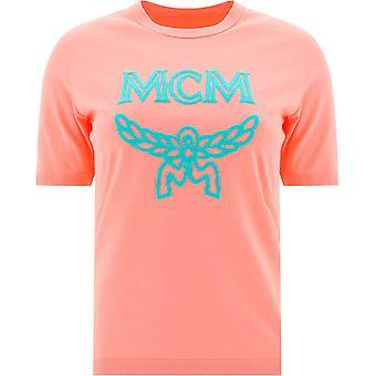 Mcm Mftasmm03pink Women's Pink Cotton T-shirt