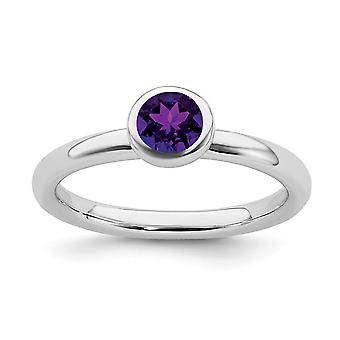 925 Sterling Silver Bezel Polonais Rhodium plaqué Expressions empilables Low 5mm Round Amethyst Ring Jewelry Gifts for Wo