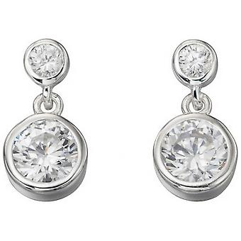 Beginnings Cubic Zirconia Double Drop Rubover Earrings - Silver/Clear