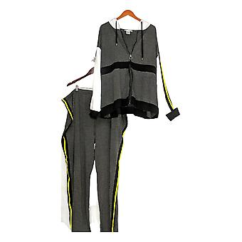K Jordan Set Striped Zip Front Jacket & Pants Yellow