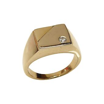 Christian gold cachet ring with diamond