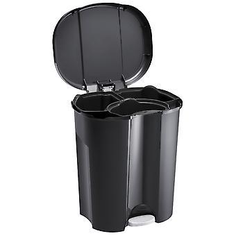 ROTHO Abfalleimer Trennsystem 2x 15 Liter / 1x 11 Liter Schwarz | Mülleimer mit Trennsystem
