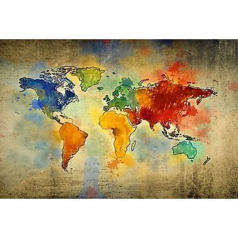 Bunte Weltmalerei aus Polyester, Holz 100x3x70 cm