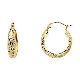 14k giallo oro pieno sparkle Cut Half Dome Hoop Orecchini 18x18mm regali di gioielli per le donne - 1.1 Grams