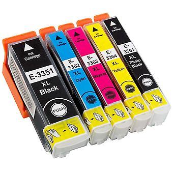 استبدال روديتوس هيغييلدبلاكفوتوبلاكسيانييلوو خرطوشة الحبر 33XL(Orange) أبسون آند الأرجواني متوافقة مع التعبير بريميوم إكس بي-530، 540 إكس بي، إكس بي-630، إكس بي-635، 640 إكس بي، إكس بي-645، إكس بي-830، 900 إكس بي