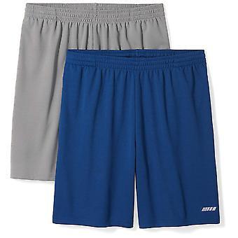 Essentials Men's 2-Pack Loose-Fit Performance Shorts, Medium Grey/Navy...