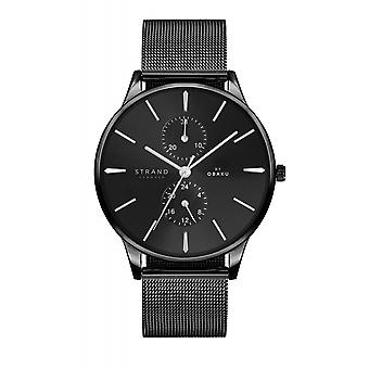 Strand By Obaku S703GMBBMB Beaufort-Charcoal Black Mesh Wristwatch