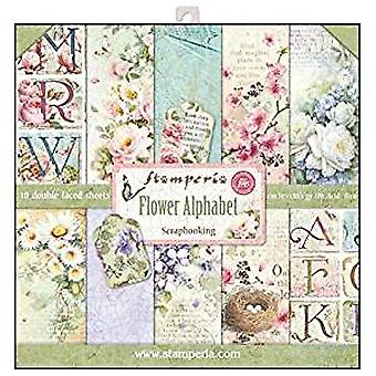 Stamperia Flower Alphabet 12x12 Inch Paper Pack