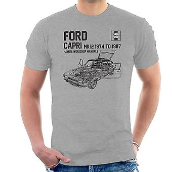 Haynes proprietários Workshop Manual 0283 Ford Capri Mk12 Black t-shirt dos homens
