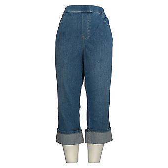 Belle by Kim Gravel Women's Jeans Plus Pull-On Cuffed Capri Blue A305595