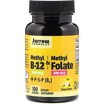 Jarrow Formulas, Methyl B-12 & Methyl Folate, Lemon Flavor, 1000 mcg / 400 mcg,