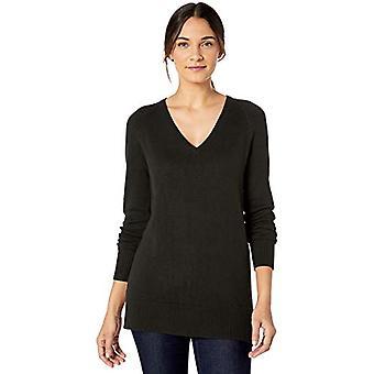 Lark & Ro Frauen's Langarm Tunika V-Ausschnitt Pullover, schwarz, Medium