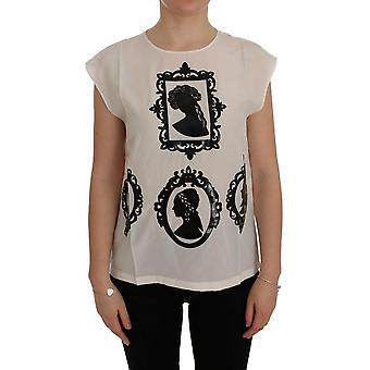 دولتشي & غابانا أبيض الحرير الأسود الإطار بلوزة SIG50498-1