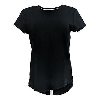 Isaac Mizrahi Live! Women's Top Essentials Curved Hem T-Shirt Black A297119