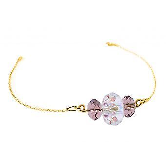Ah! Jewellery 24K Gold Vermeil Over Sterling Silver Blush Rose and AB Crystals From Swarovski Triple Briolette Bracelet, Stamped 925
