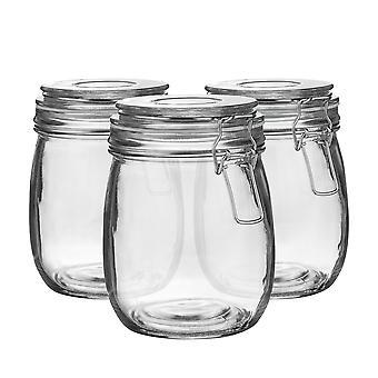 Argon Tafelwerk Glazen Opslag potten met luchtdichte clip deksel - 750ml Set - White Seal - Pack van 3