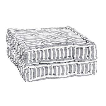 Nicola Spring Square Padded French Mattress Dining Chair Cushion Seat Pad - Grey Stripe - Pack of 2