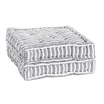 Nicola Spring Square Gewatteerde Franse matras dinerstoel kussen stoelpad - Grey Stripe - Pack van 2