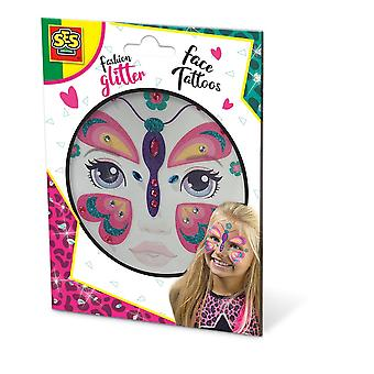 SES Creative Butterfly Fashion Tijdelijke Glitter Face Tattoos Girl Multi-colour