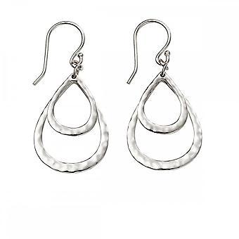 Anfänge Sterling Silber E5374 gehämmert Doppel Teardrop Ohrringe