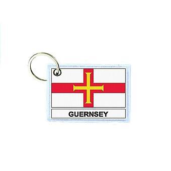 Porte cles cle clefs imprime double face drapeau GBG guernesey
