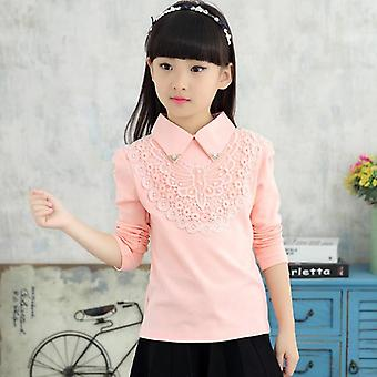 Autumn Fashion Kids Solid Turn-down Blouses fleur de dentelle, vêtements en coton