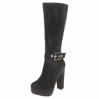 Koi Footwear Suede Platform Knee High Heel Boots Ankle Strap