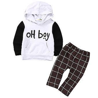 Toddler Kids Baby Clothes Set, Hoodies Tops Casual Pants Plaid Outfits