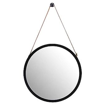 Hanging Round Wall Mirror- Solid Bamboo Frame & Adjustable Leather