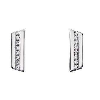 Fiorelli Silver Womens 925 Sterling Silver Cubic Zirconia Angled Bar Shape Stud Boucles d'oreilles