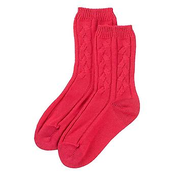 Johnstons of Elgin Cable Bed Socks - Lotus Pink