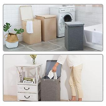 Puuvillainen pyykkikori kansi kylpyhuone keittiö varasto kotiin kokoontaitettava