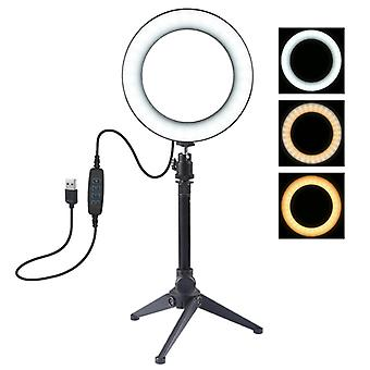 PULUZ 6,2 tum 16cm USB 3 Lägen Dimbar LED Ring Vlogging Fotografering Video Lights + Stationära Tripod hållare med cold shoe tripod ball head