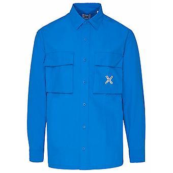 Kenzo Fb55ch5209co69 Men's Blue Nylon Shirt