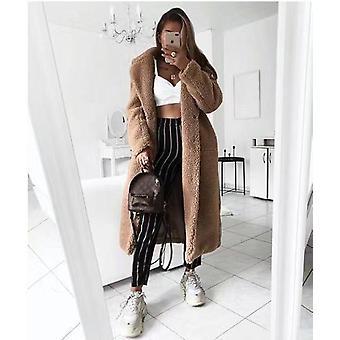 Faux Fur Teddy Coat Women Autumn Winter Casual Plus Size Long Jacket Female