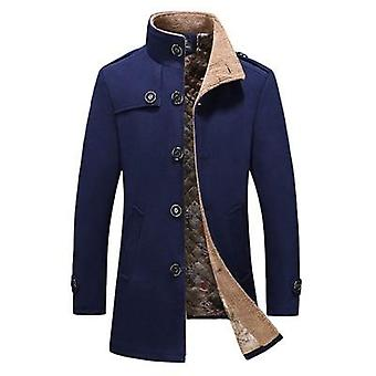 Fashion Business Casual Mannen Warm Dikker Winter Wol Trench Coat