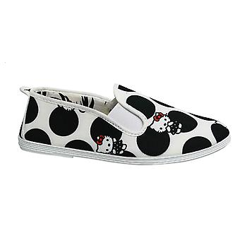 Flossy Style Hello Kitty Womens Espadrille Slip Op Plimsolls Schoenen 55439 Zwart