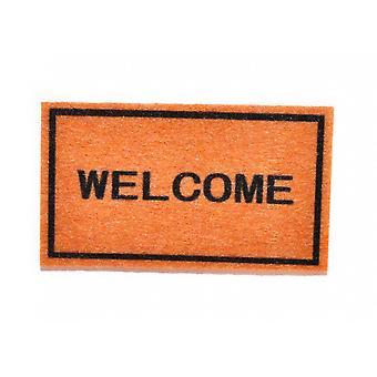 """Dolls House """"welcome"""" Accessoire miniature d'étape de hall de tapis de porte"""