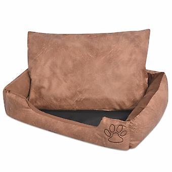 سرير الكلب مع وسادة PU فو الجلود حجم S البيج