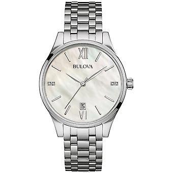 ブローバ96S161レディースマザーオブパールダイヤルダイヤモンド腕時計