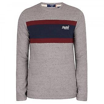 Superdry OL Engineered Stripe LS Grey Grit T-Shirt 4WH
