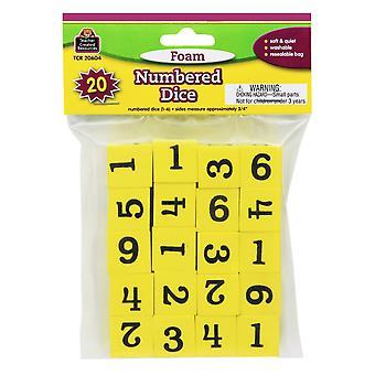 Schaum nummerierte Würfel (1-6), Packung mit 20