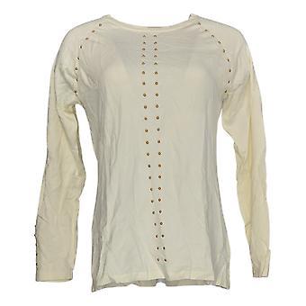 Dennis Basso Women's Sweater Crew-Neck W/ Embellishment Ivory A369859