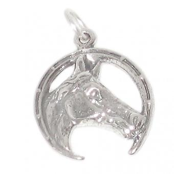 Horsehead In Horsesheoe Sterling Silver Charm .925 X 1 Horse Charms - 2718