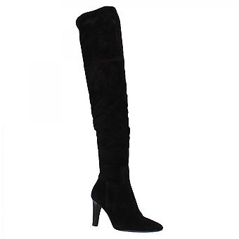 Leonardo Shoes Women's handmade pointed toe high heel thigh high boots in black suede leather with side zip