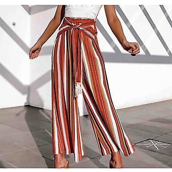 Cotton Pants Striped Wide Leg Pants With