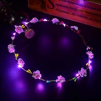 Party Crown Flower Led Light Up Hair Wreath Hairband