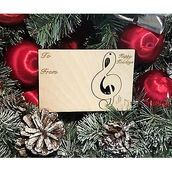Music Note Holiday Ornament Card #9008