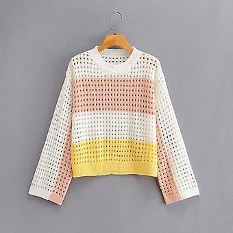 Hollow Loose Patchwork Color Women Knitwear