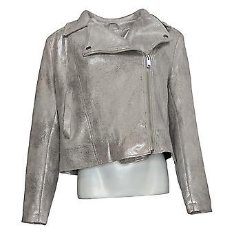 G By Giuliana Women's Faux Suede Moto Jacket Silver 674049